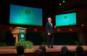 President Neal Smatresk delivers his State of the University speech. (Photo by Michael Clements)