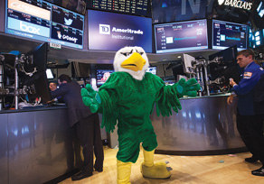 Scrappy at the New York Stock Exchange (Photo courtesy of TD Ameritrade)