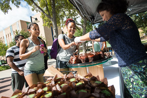 Students enjoyed cupcakes on Founder's Day. (Photo by Ahna Hubnik)