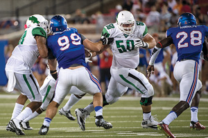 Kaydon Kirby (#50) is one of three Mean Green players named to award watch lists. (Photo by Michael Clements)