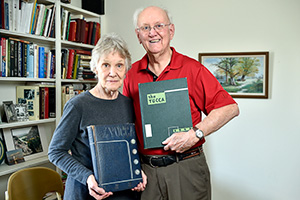 "John Lovelace ('52) has been married for 62 years to the former Mary Ellen Reynolds ('52), a music education major from Amarillo, whom he calls ""the jewel of all my years at UNT."" (Photo by Gary Payne)"