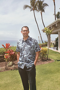 Jansen Medeiros ('14 M.S., '14 M.B.A.), managing director of Hawaiian Hotels and Resorts in Maui, Hawaii. (Photo by Manuel Balesteri)