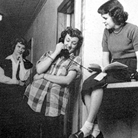 1950 Yucca - students on the telephone.