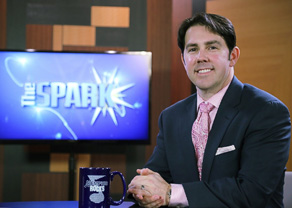 Jeremy Park on the set of <em>The SPARK</em>, a monthly TV program produced by the Lipscomb Pitts Breakfast Club.