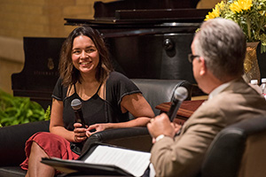 Alumna Norah Jones takes part in a Q&A session with UNT students on campus facilitated by John W. Richmond, dean of the College of Music (photo by Ahna Hubnik)