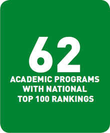 62 academic programs with national top 100 rankings