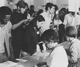 From the 1971 Yucca, students line up to register for classes in 1971