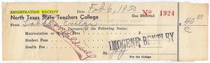 $40 receipt for Evelyn's last semester, February 1950