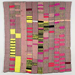 """This untitled 88""""x 82"""" weaving is made out of hand woven fabric, cotton dyed with teas and commercial dyes, and nylon yarns."""