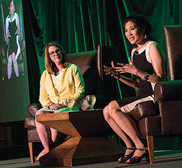 Krys Boyd, host and managing editor of <em>Think</em> leads keynote speaker Sheryl WuDunn in a conversation during the Mayborn Literary Nonfiction Conference (Photo by Ahna Hubnik)