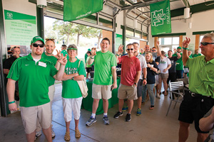 Fans gather at the UNT Alumni Pavilion during the Alumni GameDay Grille before the season's opening football game. (Kasey Kamenicky ('04)/FW Creations)