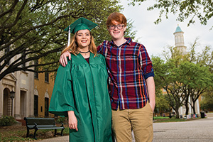 Katelynn Blasavage ('16), left, with her brother Noah (Photo by Gary Payne)
