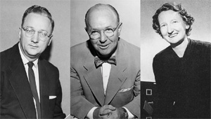 From left, former faculty Gene Hall ('41, '44 M.A.), jazz studies; J.K.G. Silvey, biology; and Imogene Bentley Dickey Mohat, English and dean of women