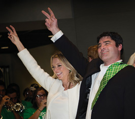 Coach Seth Littrell and his wife, Becca join the Mean Green family. (Photo by Ahna Hubnik)