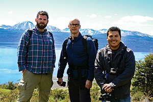 Guido Verbeck, associate professor of chemistry, center, with doctoral students Phillip Mach, left, and Roberto Aguilar, right, in Chile (Photo by Annah Verbeck)