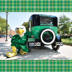 UNT mascot Scrappy beside the Mean Green Machine Model T (Photo by Michael Clements)