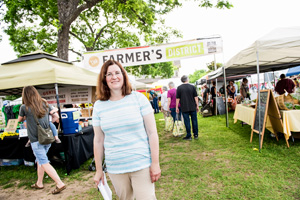 Vicki Oppenheim, helps to coordinate the Denton Community Market. (Photo by Ahna Hubnik)