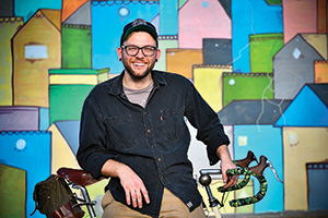 Brandon Dupré ('11), owner of Sprockets bicycle store in Denton (Photo by Michael Clements)