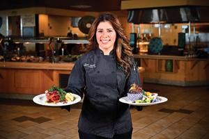 Carla Trujillo ('11), chef manager for UNT's Mean Greens vegan dining hall (Photo by Michael Clements)