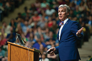 Bill Nye spoke to students on campus this spring as part of UNT's Distinguished Lecture Series. (Photo by Gary Payne)