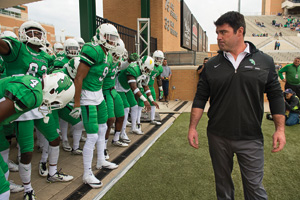 Head coach Seth Littrell and the Mean Green get ready to take the field for the Homecoming game against Louisiana Tech. (Photo by Gary Payne)