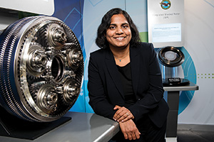 Haritha Namduri ('03 M.S., '07 Ph.D.) (Courtesy of Spencer Sloan/Pratt & Whitney)