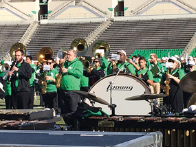 The reunited Green Brigage Marching Band. (Photo by Sean Howard)