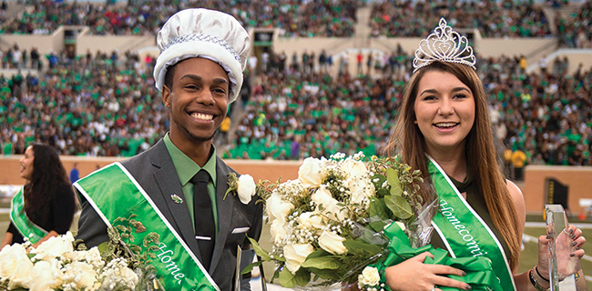 UNT students Myles Brenton Alexander, a senior majoring in human development from Memphis, Tenn., and Caitlin Broad­us, a junior majoring in English from Orlando, Fla., were named 2016 Homecoming royalty. (Photo by Gary Payne)