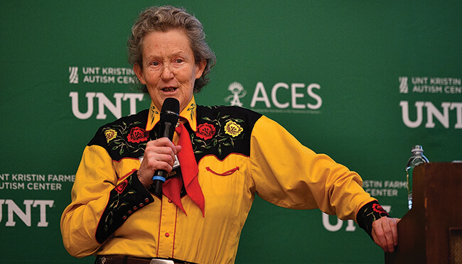 UNT and ACES (Comprehensive Educational Services Inc.) hosted Temple Grandin, one of the most important voices in the autism spectrum disorder community, for +Autism, a lecture and panel discussion about autism April 13 in Dallas. (Photo by Michael Clements)