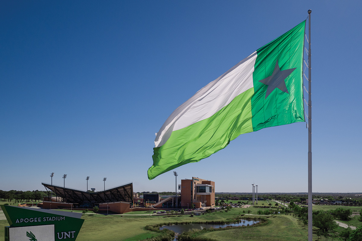 Large UNT Battle Flag at Apogee Stadium