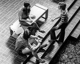 Overhead photo of students on the first floor of the union, 1973.