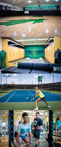 """Recent upgrades to UNT athletic facilities include renovated women's basketball and football locker rooms, newly painted tennis courts and new scoreboard, more strength and conditioning support in the weight rooms and the renovated """"E"""" practice facility."""