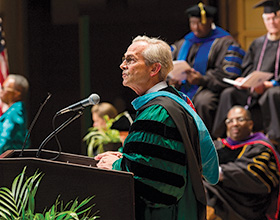Jackson spoke at numerous graduations through the years. (Photo courtesy of UNT System)