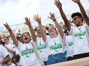 UNT freshmen class of 2021 participated in the Apogee Experience and class photo.  (Photo by Ahna Hubnik)