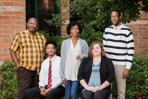 Carla LynDale Carter-Bishop, center, with students from left, George Starks, Nathan Taylor, Emmalee Mosher and Okoye Anderson. (Photo by Ranjani Groth)