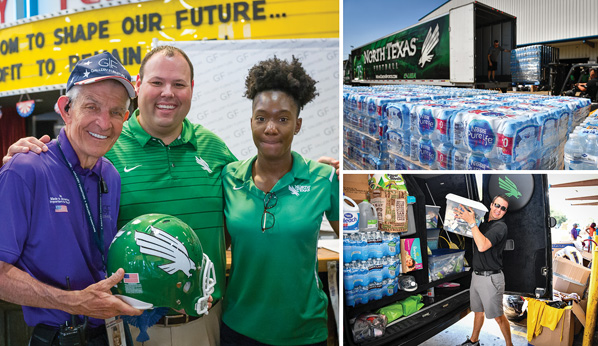 UNT AD Wren Baker and a delegation from UNT Athletics deliver a load of donated Harvey relief supplies to Mattress Mack and Gallery Furniture in Houston, Texas on September 12, 2017. Mattress Mack is UNT alum Jim McIngvale. Pictured is Ryan L Peck, Executive Senior Associate Athletic Director for External Affairs.