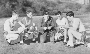 Track stars and twins Elmer and Delmer Brown and Blaine and Wayne Rideout (who would set a world record in the mile and seven-eighths relay in 1938), with track coach Choc Sportsman, 1937 Yucca