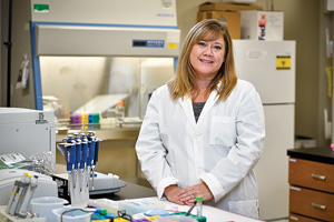 Amie Lund, assistant professor of biology, has found that exposure to traffic-generated pollution has negative effects on cardiovascular health. She hopes her research will lead to the design of drugs to help treat or prevent stroke and cardiovascular problems. (Photo by Michael Clements)