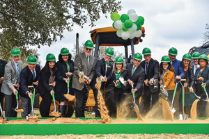 UNT leaders break ground in February on a new residence hall and tour center. (Photo by Michael Clements)