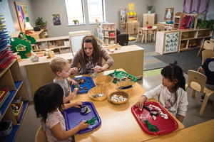 Children play at UNT's recently updated Child Development Laboratory. (Photo by Michael Clements)