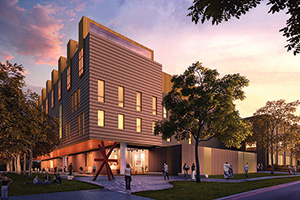 A rendering shows the planned addition for the College of Visual Arts and Design.