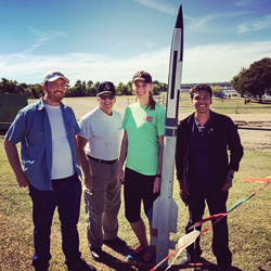 Members of UNT Team Rocket and their mentor (left to right): Joel Thompson, George Sprague, Karen Lyndsey Smith and Luis Gonzalez.