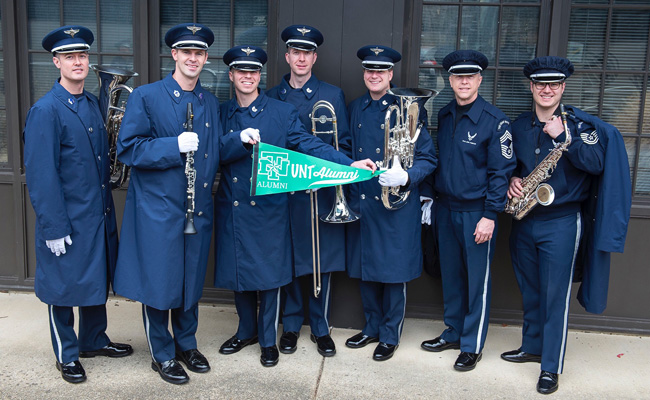 From left, Jeff Martin, Blake Arrington, Matt Penland, Ben Polk, Erik Lundquist, Bill Marr, saxophone instructor, and Ricky Parrell. Photo by CMSgt Kevin Burns