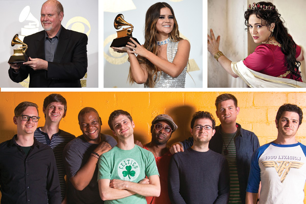 From top left, include composer Michael Daugherty, country singer Maren Morris, opera singer Patricia Racette and jazz band Snarky Puppy