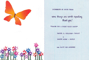 A thank you card with a graphic of a buttlerfly and flowers