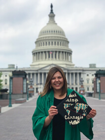 May graduate Marisa Nowicki in Washington, D.C. (Photo by Dominique Espinoza)