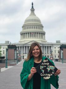 May graduate Marisa Nowicki in Washington, D.C. (Photo by Dominique Espinoza)