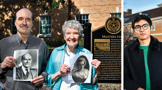 "From left, Don Dawson ('80), Catherine ""Katy"" McCarty Dawson ('48, '49 M.A.) and Nathan Dawson ('17). Don and Katy hold photos of her mother, Mildred Masters McCarty (1913), and grandfather, W.N. Masters, founder of the chemistry program in 1910. (Photo by Michael Clements)"