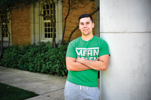 Joseph Sotelo, biology major and recipient of a Greater Texas Foundation scholarship. (Photo by Michael Clements)