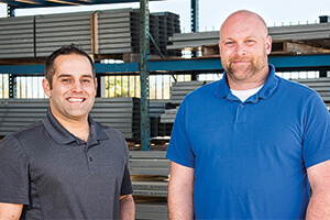 U.S. Army veterans Jeremy Artman and Nathan Derrick are among the UNT researchers working to design cold-formed steel shelters that will be more efficient, durable and lightweight for soldiers. (Photo by Ahna Hubnik)